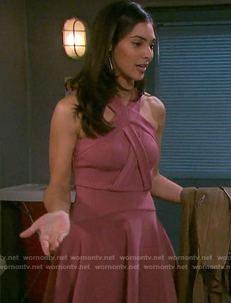 Gabi's pink cross-neck dress on Days of our Lives