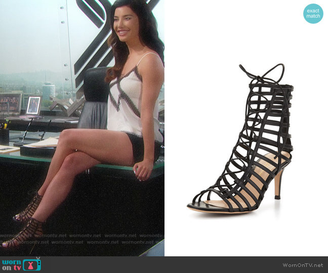 Gianvito Rossi Caged Leather Lace-Up Sandal worn by Jacqueline MacInnes Wood on The Bold & the Beautiful