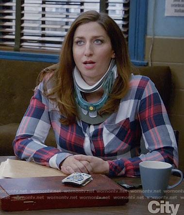Gina's red and blue plaid shirt on Brooklyn Nine-Nine