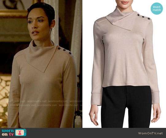 Giorgio Armani Fold-Neck Slit-Sleeve Cashmere Sweater worn by Grace Gealey on Empire