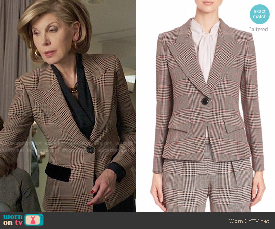 Giorgio Armani Houndstooth Suit worn by Christine Baranski on The Good Fight