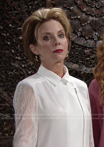 Gloria's white zipped blouse with lace sleeves on The Young and the Restless