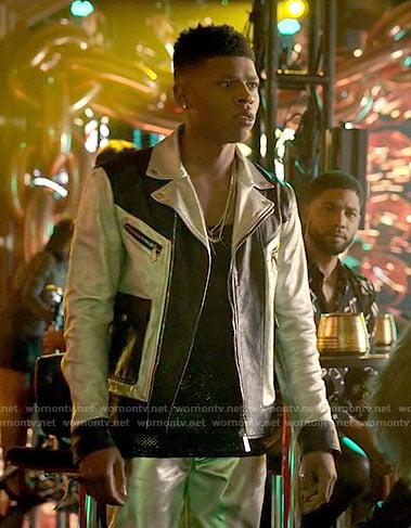 Hakeem's metallic colorblock leather jacket on Empire