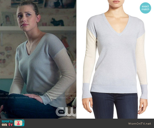 Halogen Cashmere V-Neck Sweater worn by Lili Reinhart on Riverdale
