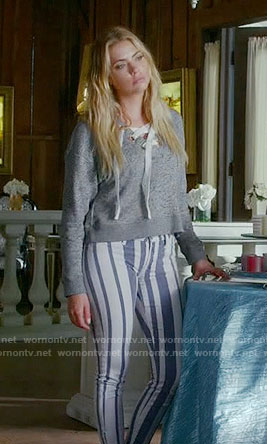 Hanna's striped jeans and grey lace-up sweater on Pretty Little Liars