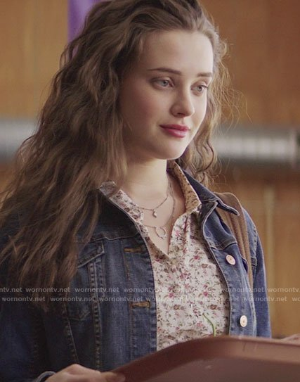 Hannah's cream floral shirtdress on 13 Reasons Why