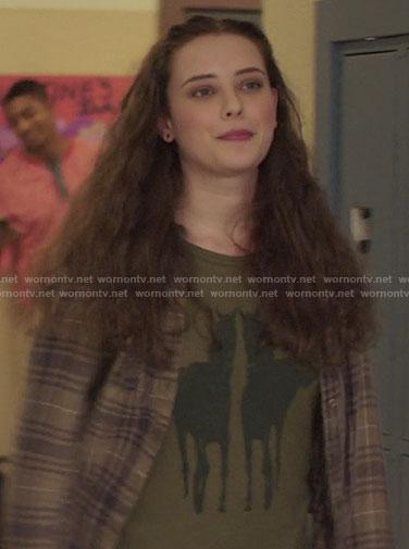 Hannah's green horse print top on 13 Reasons Why