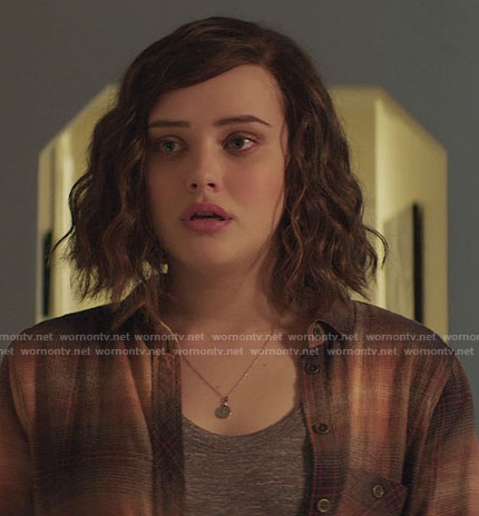 Hannah's orange plaid shirt on 13 Reasons Why