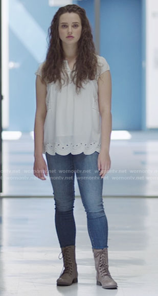 Hannah's white eyelet top and lace-up boots on 13 Reasons Why