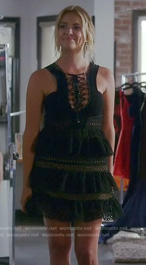 Hanna's black lace-up dress on Pretty Little Liars