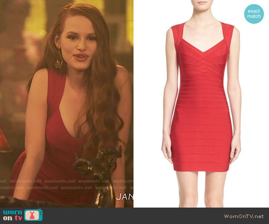Herve Leger Open Back Bandage Dress worn by Madelaine Petsch on Riverdale