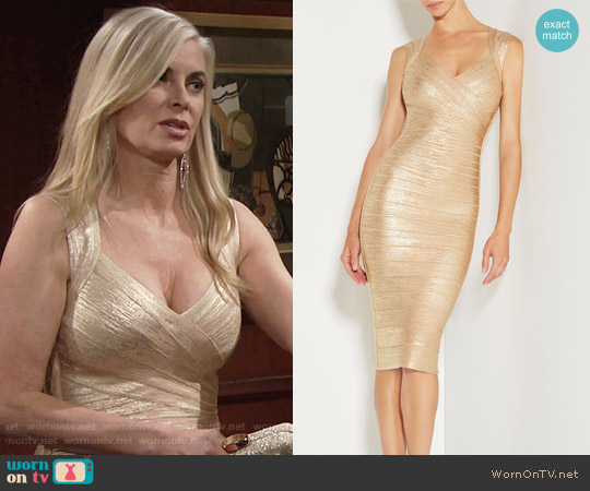 Herve Leger Sarai Woodgrain Foil Print Dress worn by Eileen Davidson on The Young & the Restless