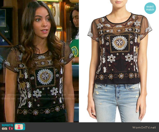 Hinge Embroidered Mesh Short Sleeve Top worn by Victoria Konefal on Days of our Lives