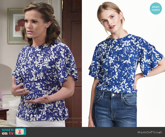 H&M Blouse with Trumpet Sleeves worn by Melissa Claire Egan on The Young & the Restless