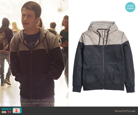 H&M Color-block Hooded Jacket worn by Clay Jensen (Dylan Minnette) on 13 Reasons Why