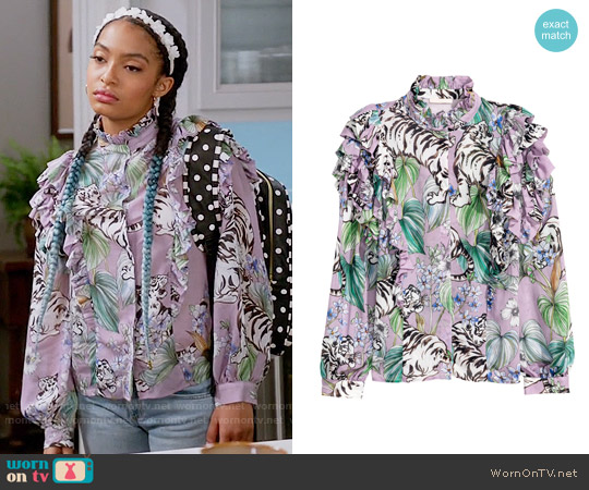 H&M Ruffled Blouse in Purple / Tigers worn by Zoey Johnson (Yara Shahidi) on Blackish