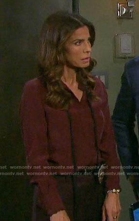 Hope's burgundy blouse with black neck tie on Days of our Lives