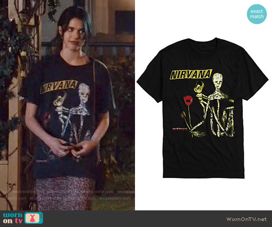 Hot Topic Nirvana Insecticide T-shirt worn by Margaret Qualley on The Leftovers