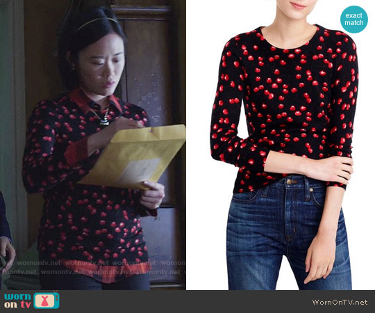 J. Crew Tippi Sweater in Cherry Print worn by Courtney Crimsen (Michele Selene Ang) on 13 Reasons Why