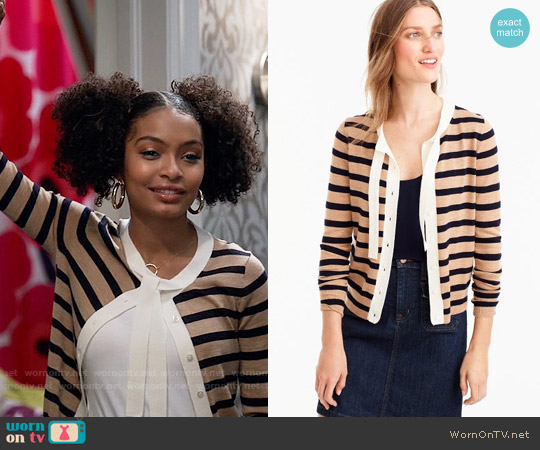 J. Crew Jackie tie-neck cardigan sweater in stripes worn by Yara Shahidi on Blackish