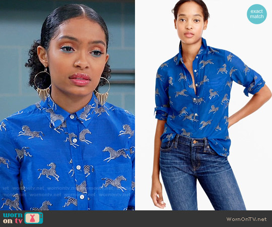 J. Crew Classic popover in zebra print worn by Yara Shahidi on Blackish