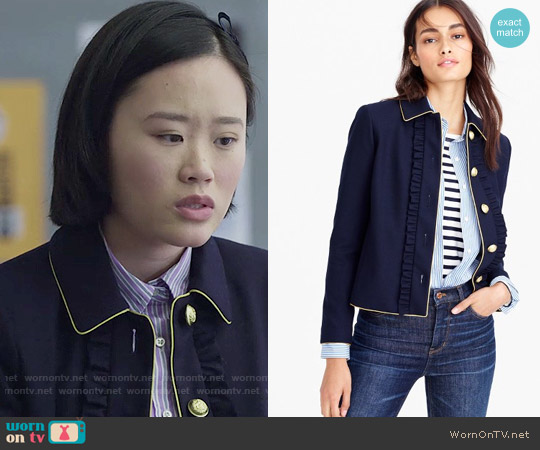 J. Crew Lady jacket with ruffles worn by Courtney Crimsen (Michele Selene Ang) on 13 Reasons Why