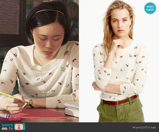 J. Crew Tippi Sweater in Embellished Bee Print worn by Courtney Crimsen (Michele Selene Ang) on 13 Reasons Why