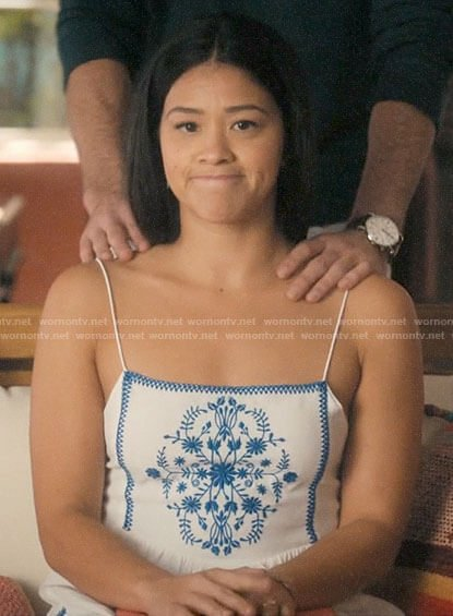 Jane's white dress with blue embroidery on Jane the Virgin
