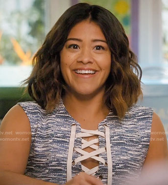 Jane's blue and white printed lace-up dress on Jane the Virgin