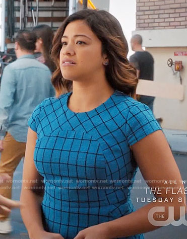 Jane's blue windowpane print dress on Jane the Virgin