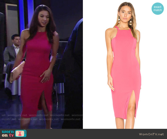 Jay Godfrey Joyce Dress in Watermelon worn by Juliet Helton (Laur Allen) on The Young & the Restless