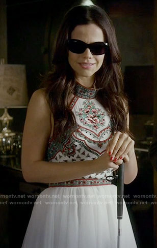 Jenna's white embroidered dress on Pretty Little Liars