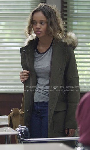 Jessica's grey ringer tee and fur hooded coat on 13 Reasons Why