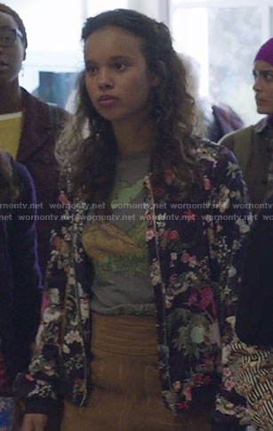 Jessica's blue floral bomber jacket on 13 Reasons Why