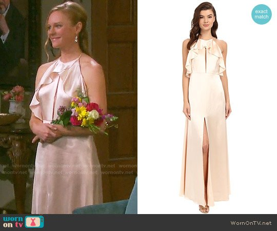 JILL Jill Stuart Satin Back Crepe Halter Ruffled Neck Gown worn by Abigail Deveraux (Kate Mansi) on Days of our Lives
