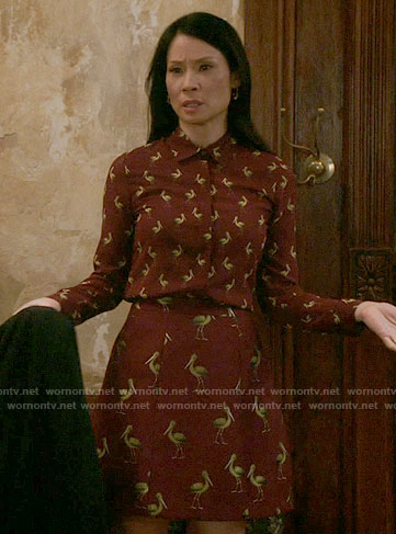 Joan's burgundy pelican print shirt and skirt on Elementary