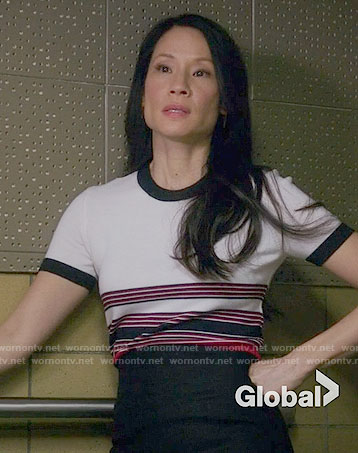 Joan's striped short sleeved top on Elementary
