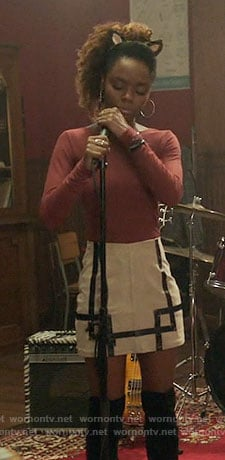 Josie's pink ribbed top and bordered skirt on Riverdale