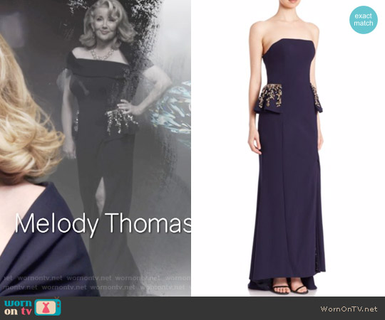 Jovani Strapless Embellished Peplum Gown worn by Melody Thomas-Scott on The Young & the Restless