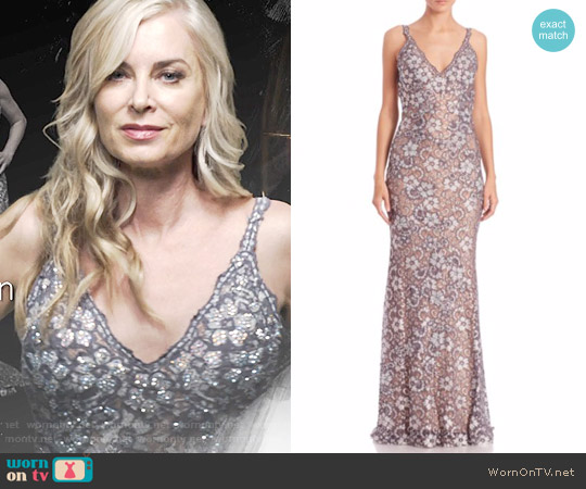 Jovani Embellished Floral Lace Gown worn by Eileen Davidson on The Young & the Restless