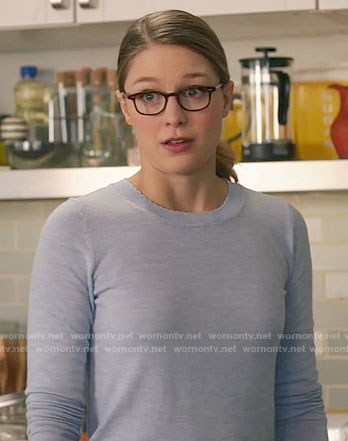 Kara's blue sweater with scalloped neckline on Supergirl