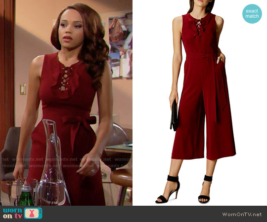 Karen Millen Lace-Up Crop Jumpsuit worn by Nicole Avant (Reign Edwards) on The Bold & the Beautiful
