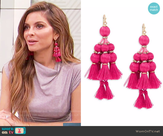 Kate Spade Pretty Poms Earrings in Pink worn by Maria Menounos on E! News