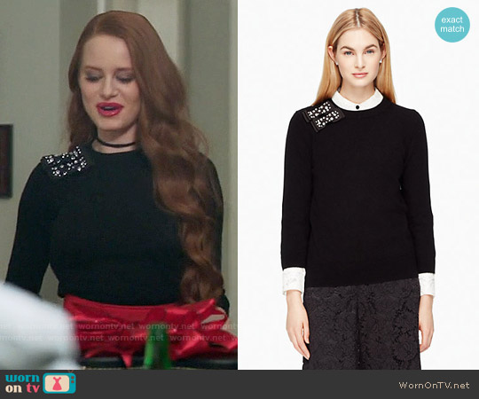 Kate Spade Embellished Bow Sweater worn by Madelaine Petsch on Riverdale