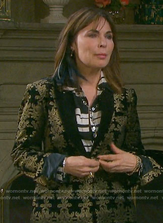 Hope's black and gold damask patterned velvet suit on Days of our Lives