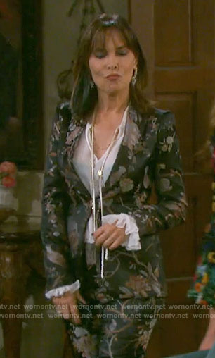 Kate's black floral suit on Days of our Lives