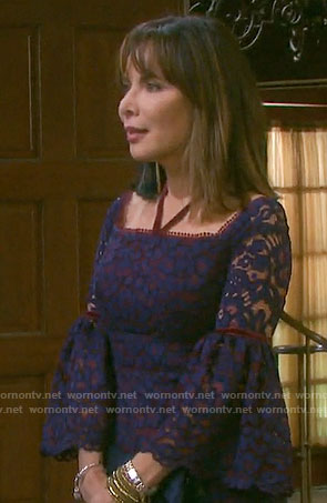 Kate's purple lace hatlerneck dress on Days of our Lives