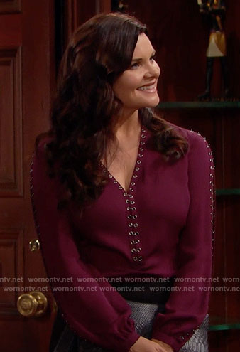 Katie's purple grommet trim blouse on The Bold and the Beautiful