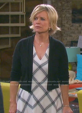 Kayla's white checked v-neck dress on Days of our Lives