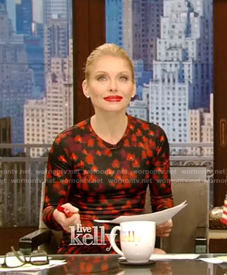 Kelly's black and red floral dress on Live With Kelly